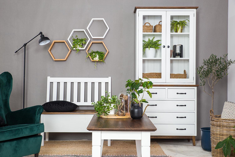 meble z drewna litego do salonu w kolorze białego wosku