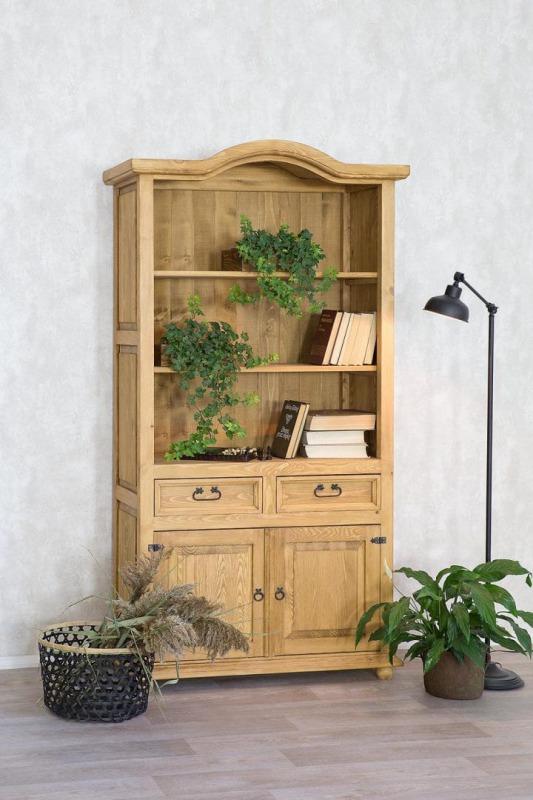 regał z półkami i szufladami do salonu z litego drewna sosnowego
