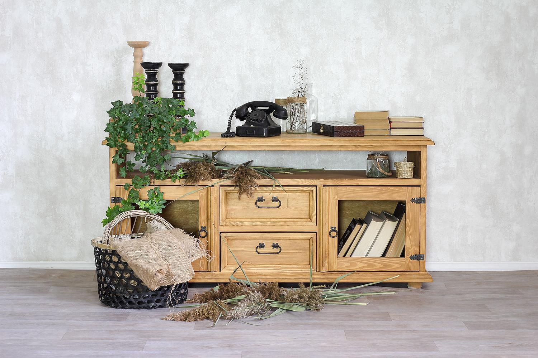 duża szafka pod telewizor z litego drewna sosnowego