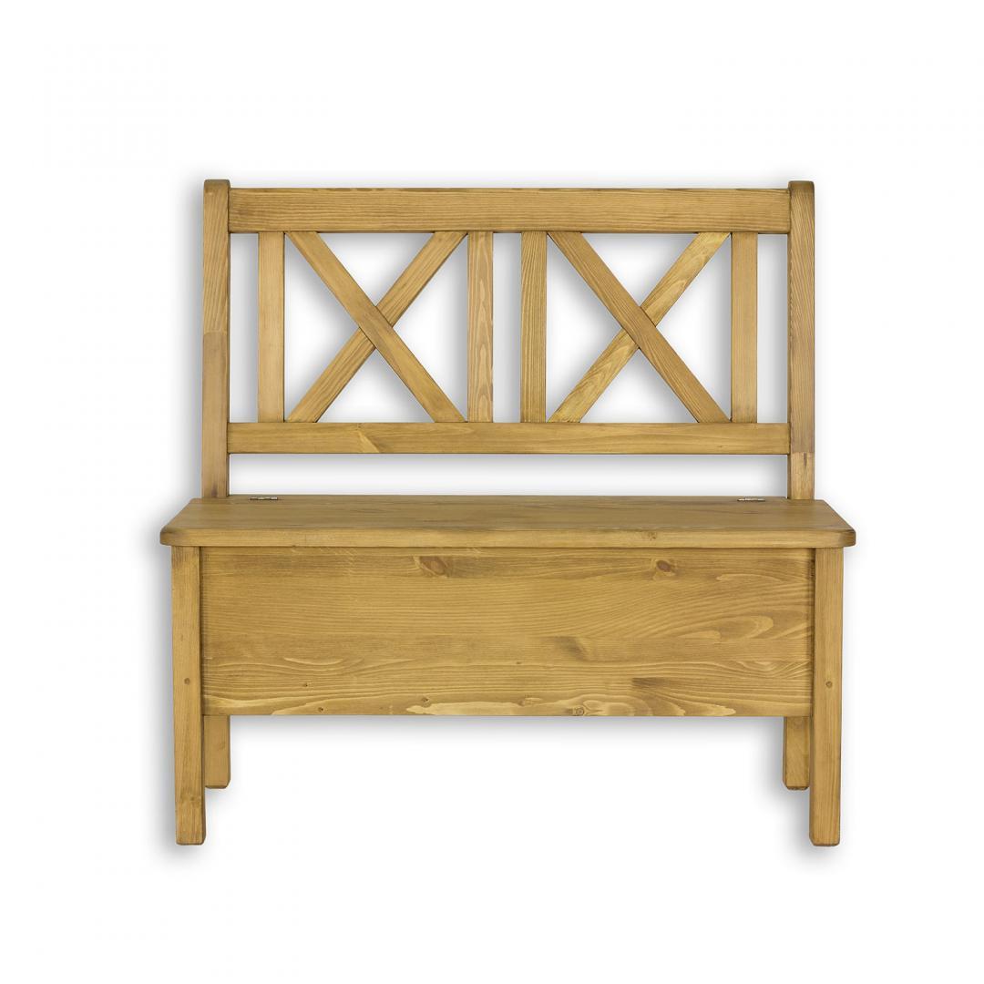 drewniana ławka sosnowa ze schowkiem