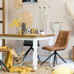 stol bialy z brazowym blatem