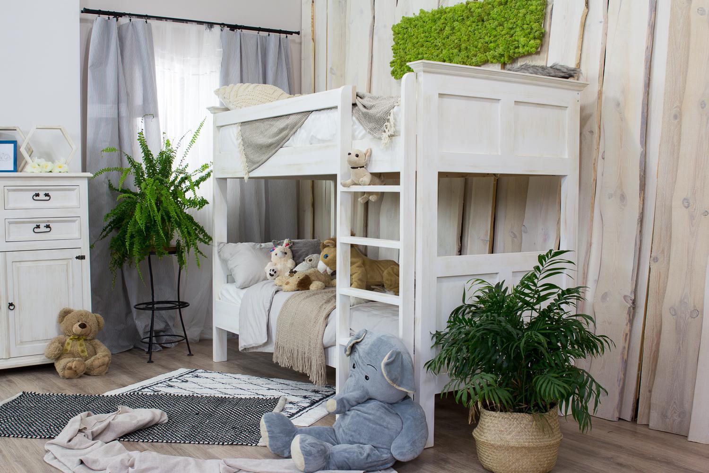 piętrowe łóżko sosnowe woskowane