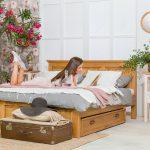 łóżko sypialniane z szufladą do przechowywania