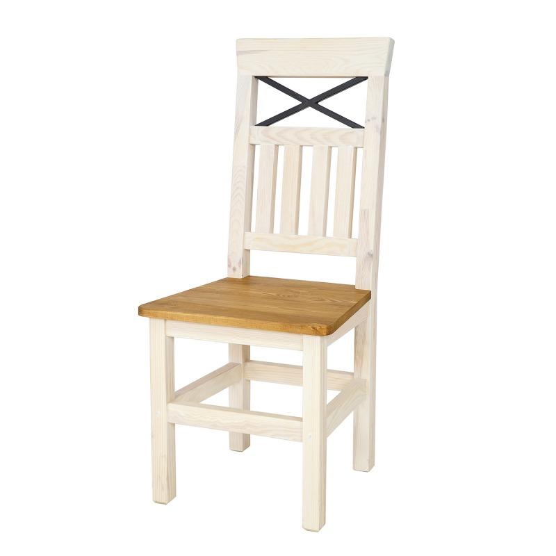 WYPRZEDAŻ - Białe krzesło sosnowe SEL15 - STEEL