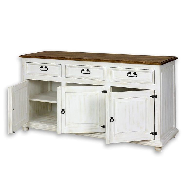 biała komoda do sypialni z litego drewna