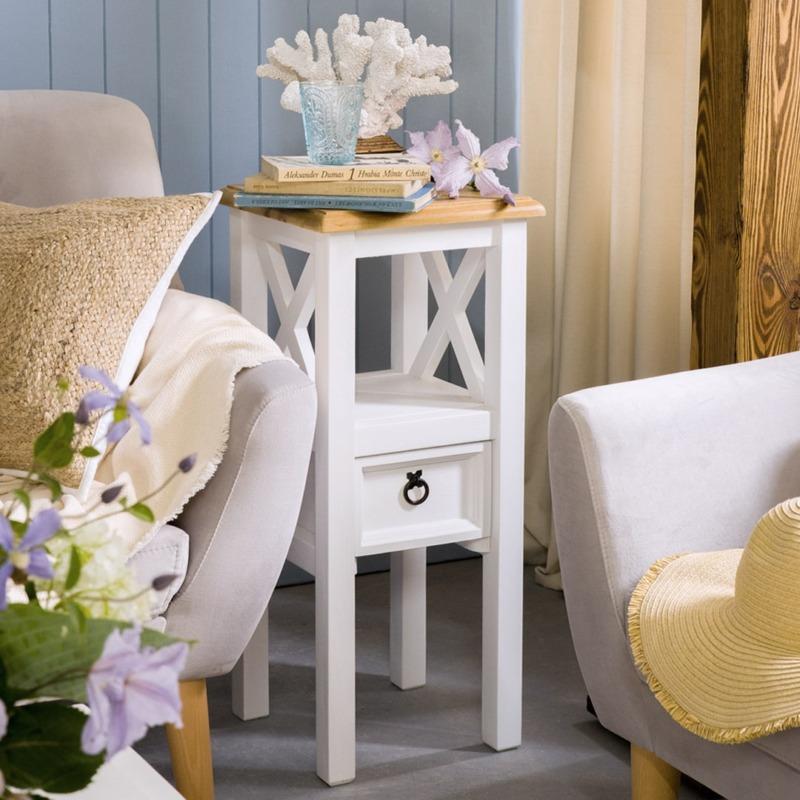 biały kwietnik drewniany z szufladką