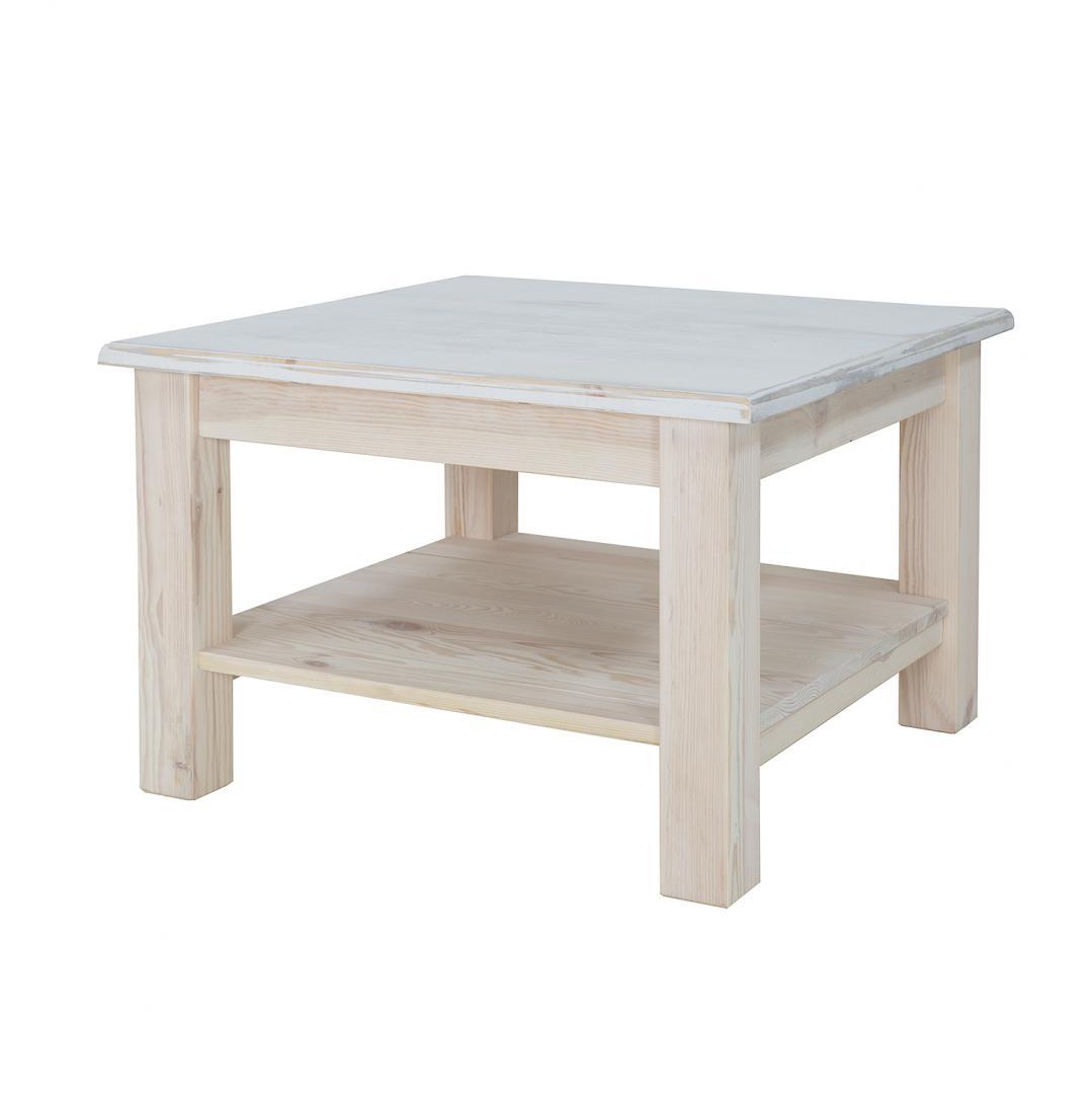 biały stolik drewniany do pokoju