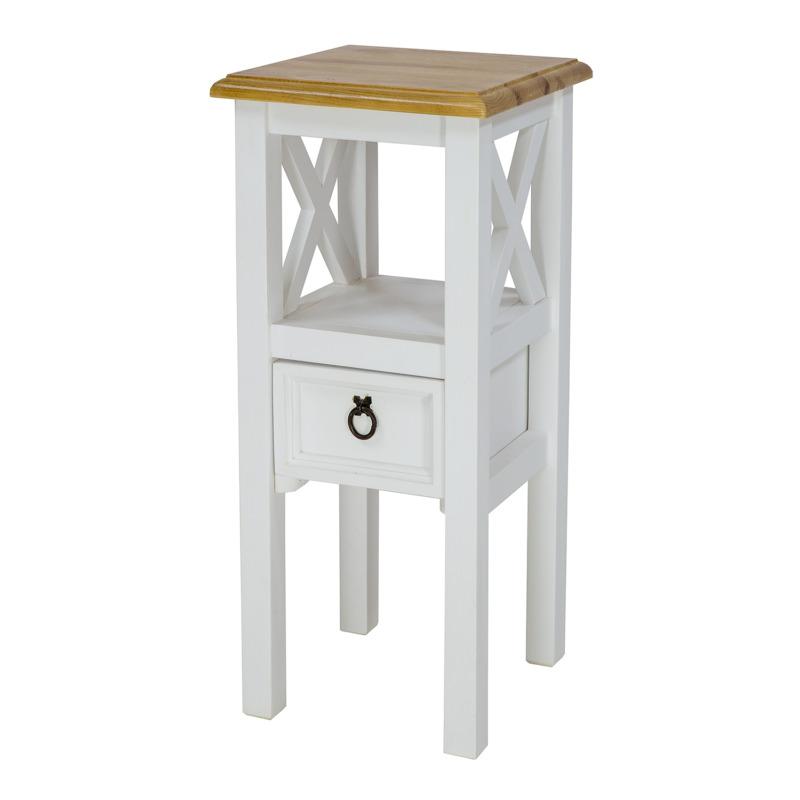 bialy stolik kwietnik w stylu retro
