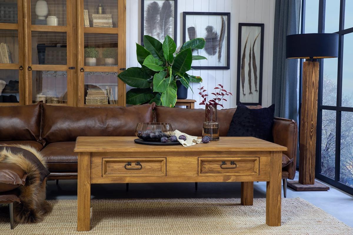 drewniana ława z szufladkami