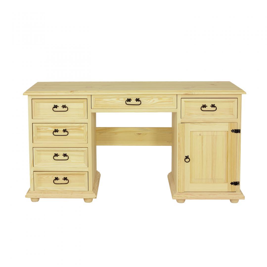 drewniane biurko do biura woskowane