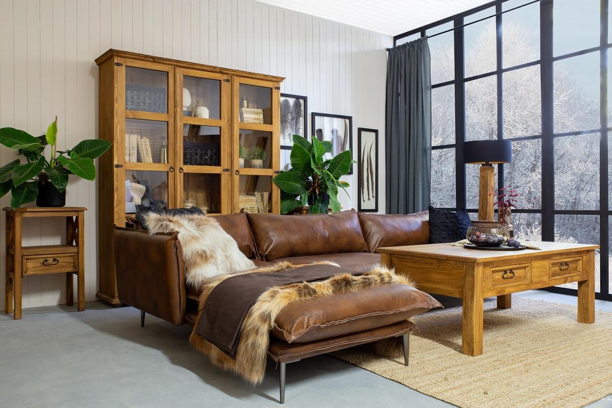 drewniane meble do salonu w stylu retro