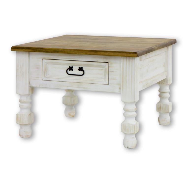 Drewniany, kwadratowy stolik z szufladką MES08