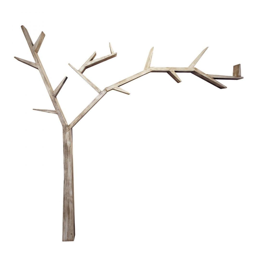półka w kształcie drzewa z drewna sosnowego