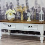 ławka drewniana patynowana z blatem lakierowanym