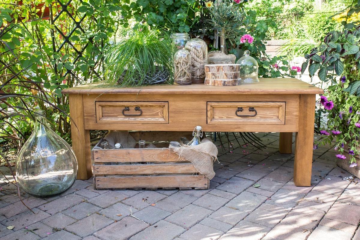 drewniany stolik ława z szufladkami