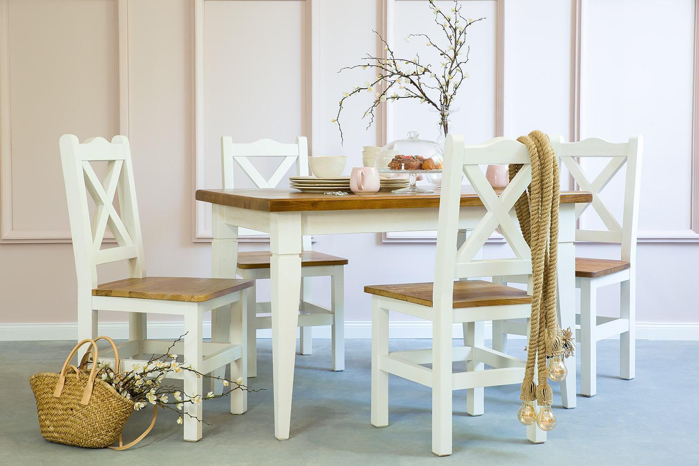 bialy stol kuchenny z krzeslami