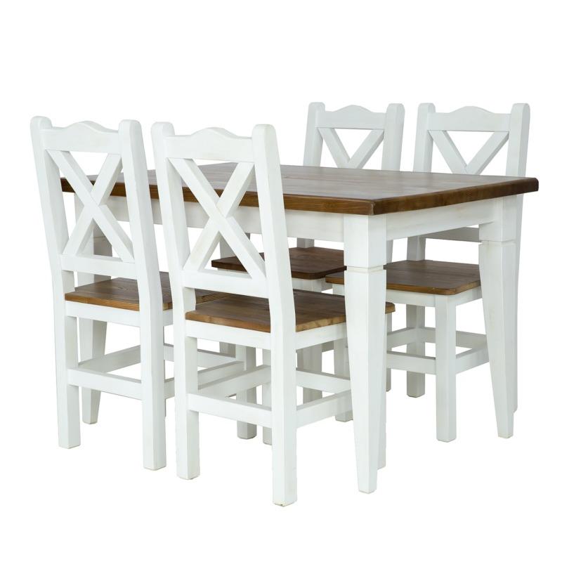 biały stół z brązowym blatem