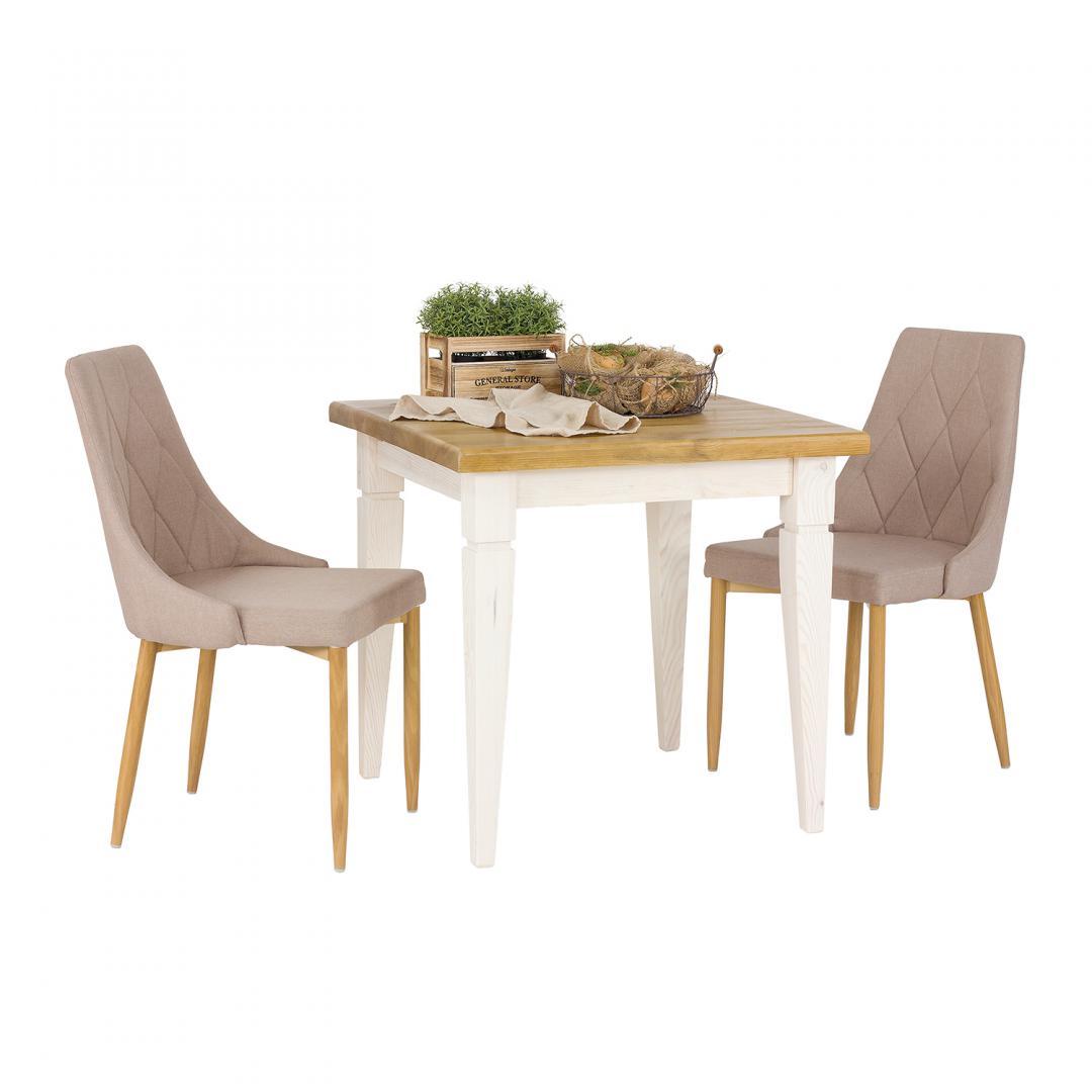 kwadratowy stół z białymi nogami i ciemnym blatem