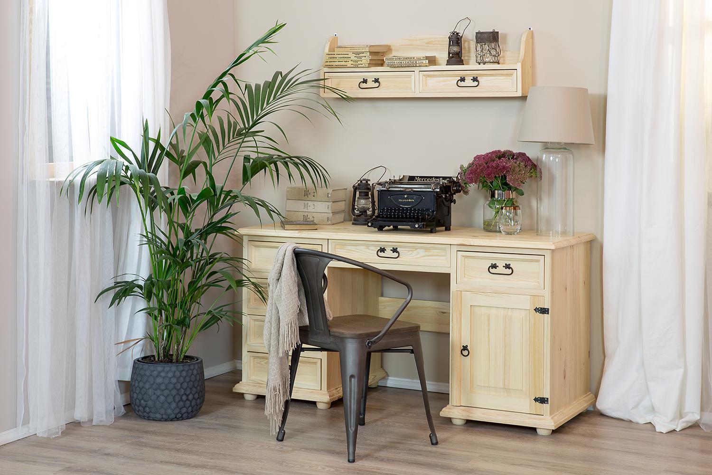 woskowane meble biurowe z drewna