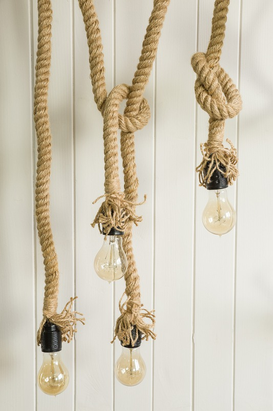 Rustykalna lampa sznurowa komplet
