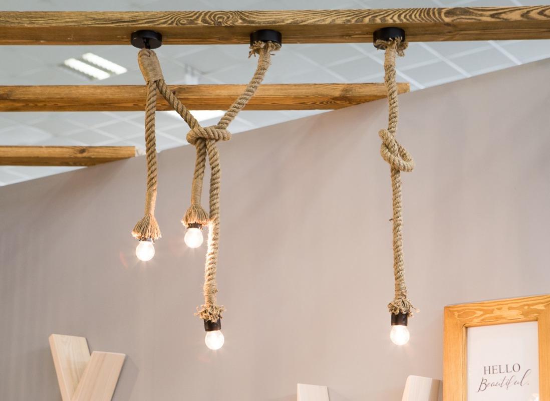 Rustykalna lampa sznurowa 100 cm