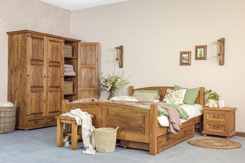 drewniane meble rustykalne do sypialni