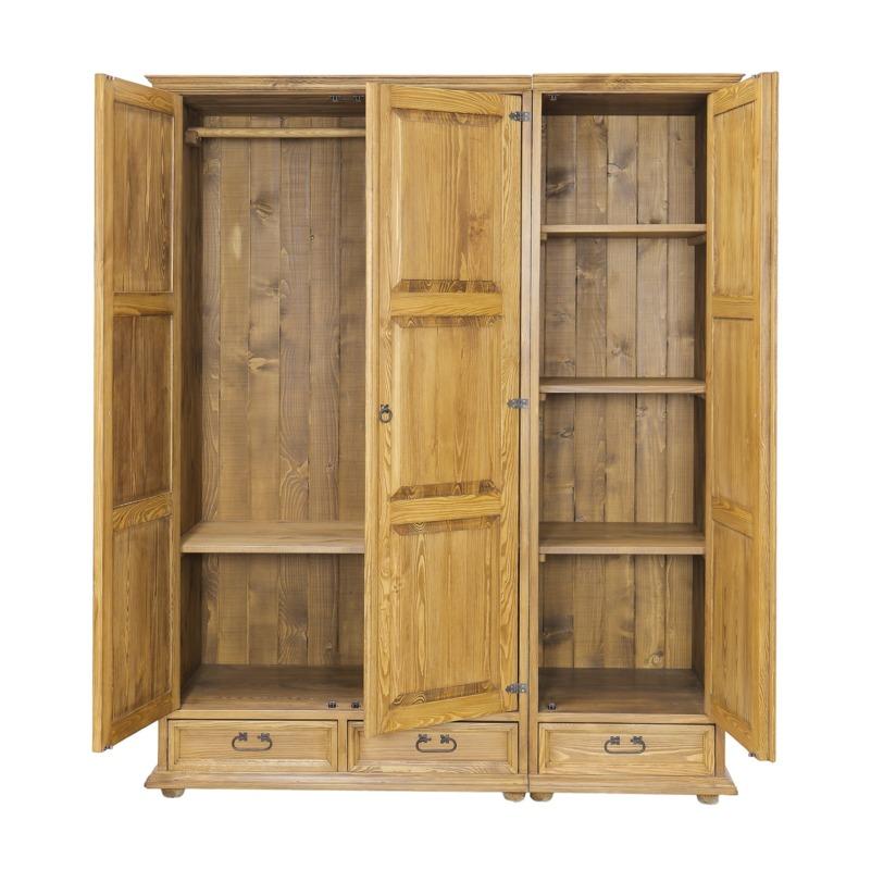 duża szafa trzydrzwiowa drewniana