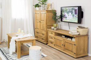 drewniana szafka pod telewizor rustykalna