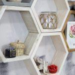 półka wisząca, sześcian - plaster miodu