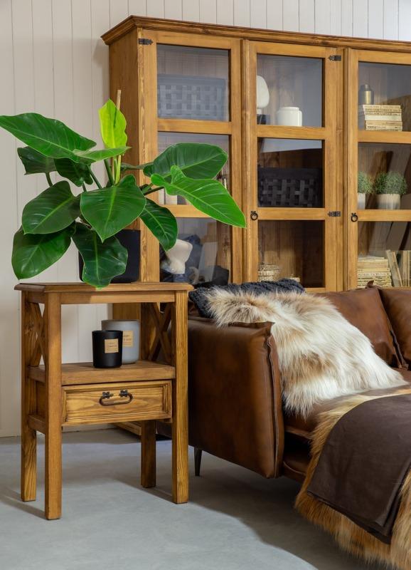 drewniana witryna rustykalna biblioteczka