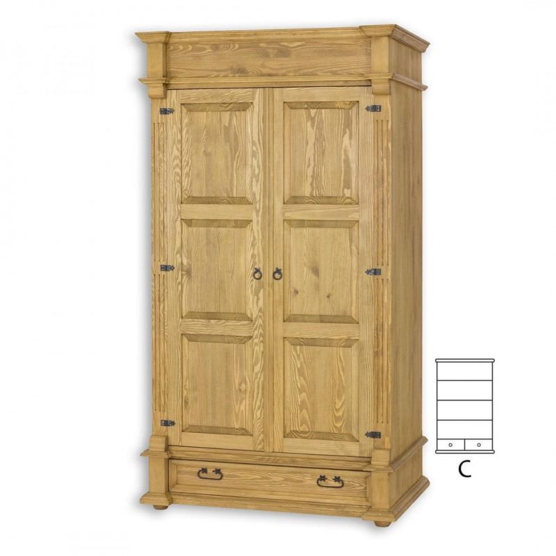 Drewniana szafa z półkami SZY04/C