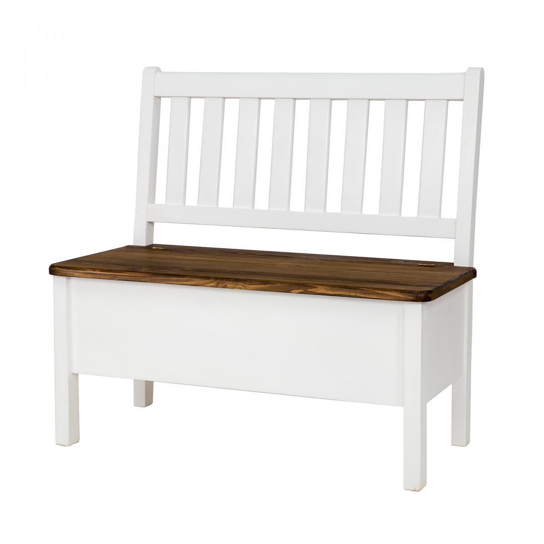 Biała ławka z oparciem SIL14/A/120