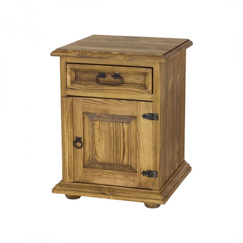 drewniana szafka nocna do sypialni z metalowymi rączkami