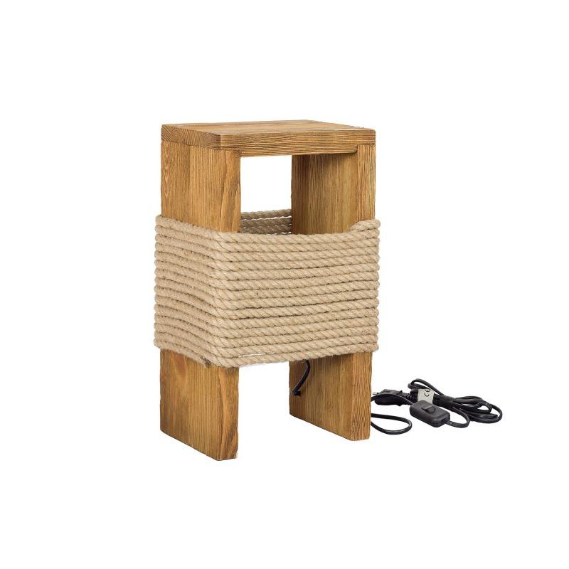 Rustykalna drewniana lampka nocna ze sznura