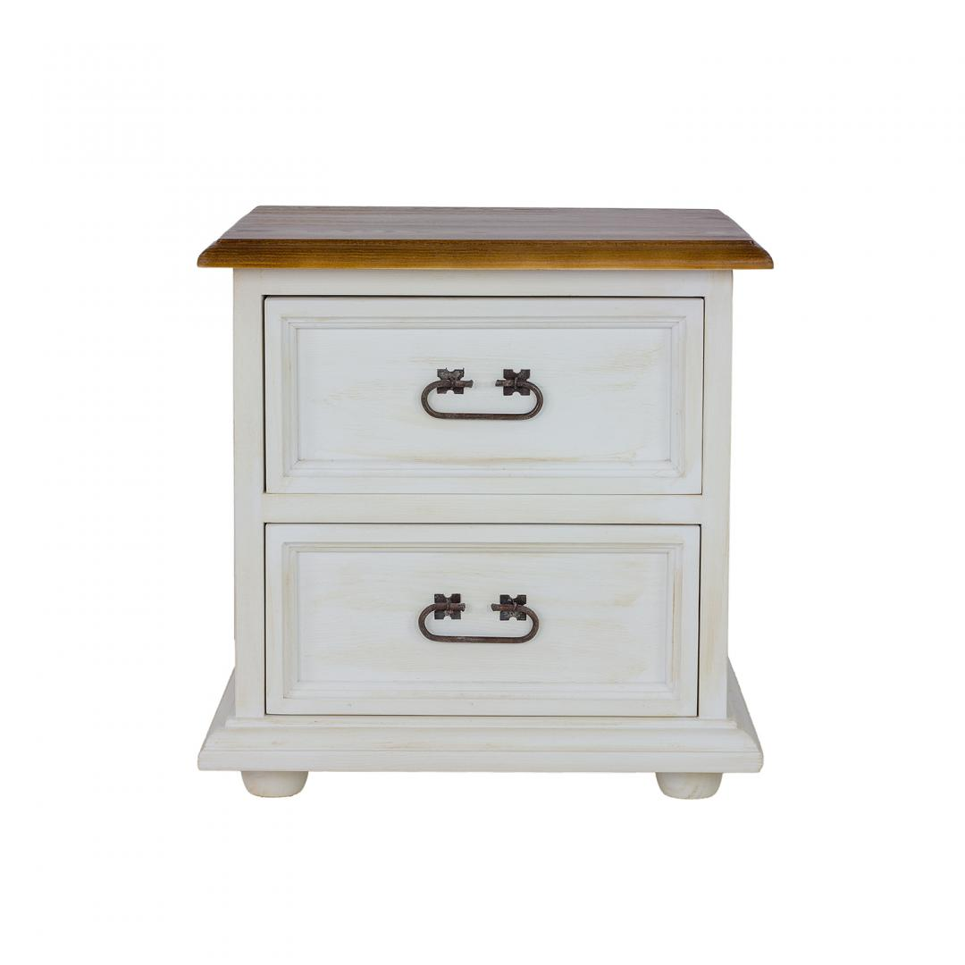 biala szafka nocna w kolorze białej patyny