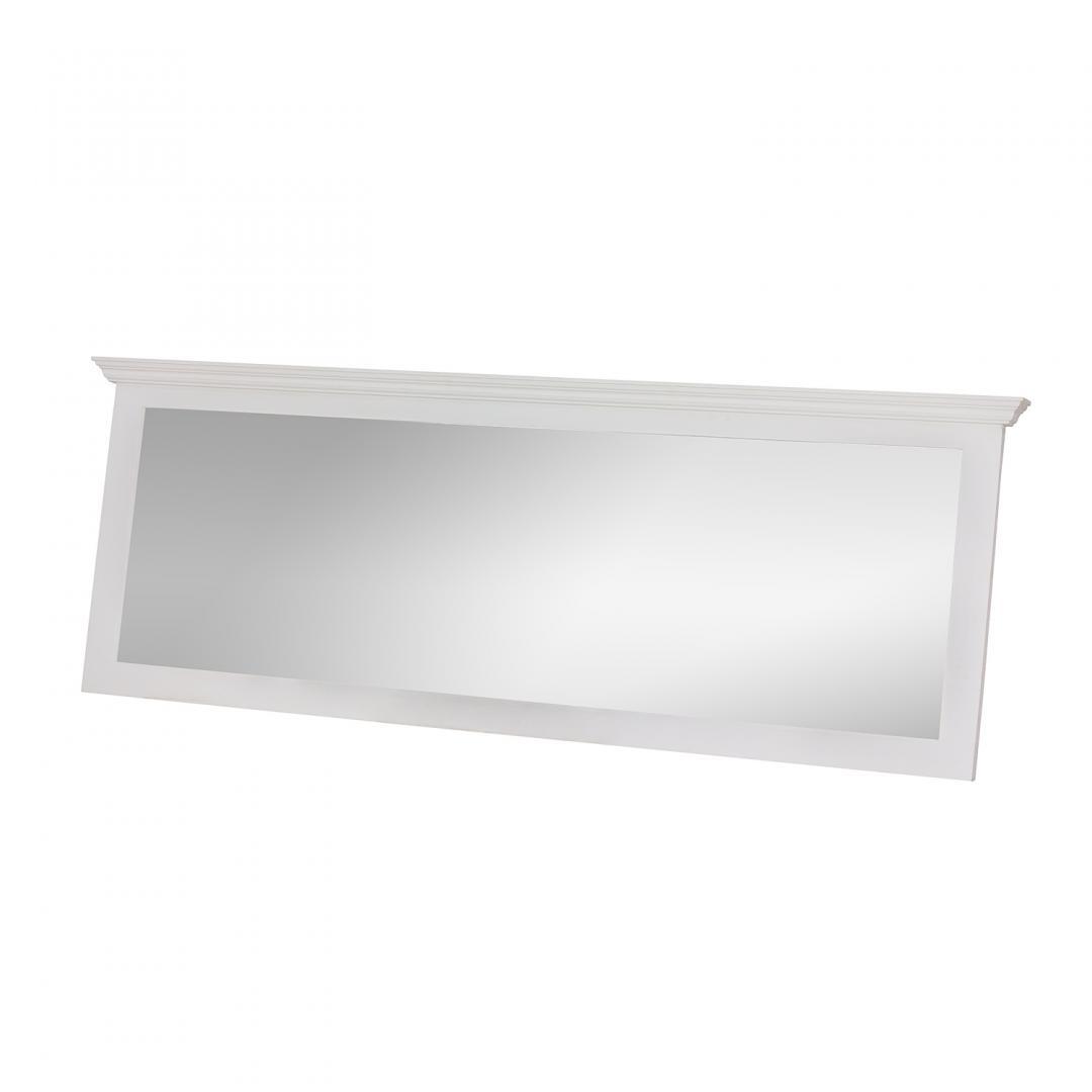 prostokątne drewniane lustro białe do sypialni