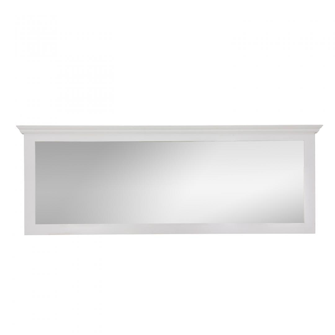 prostokątne lustro w białej ramie