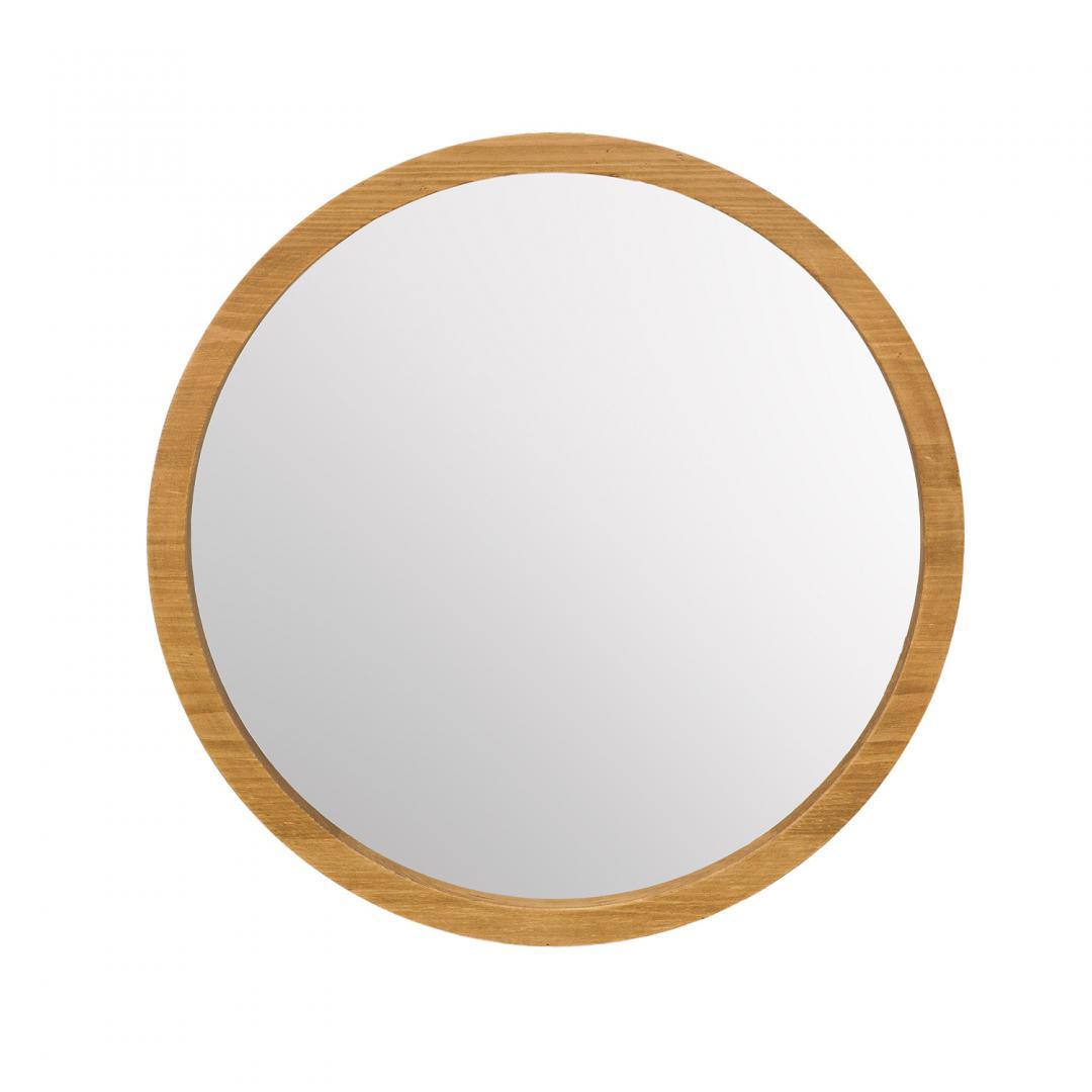 lustro w drewnianej okrągłej obramówce