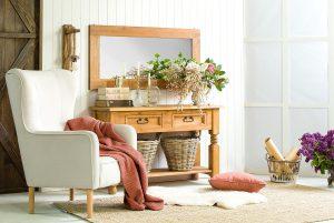 drewniana toaletka woskowana do sypialni