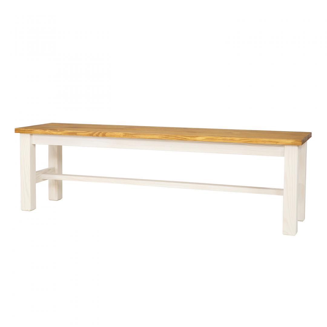 WYPRZEDAŻ - Bielona ławka sosnowa SIL20/STEEL
