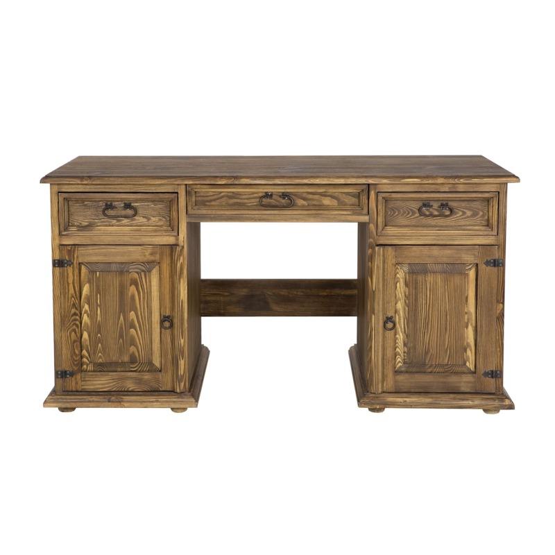 drewniane biurko gabinetowe ciemny brąz