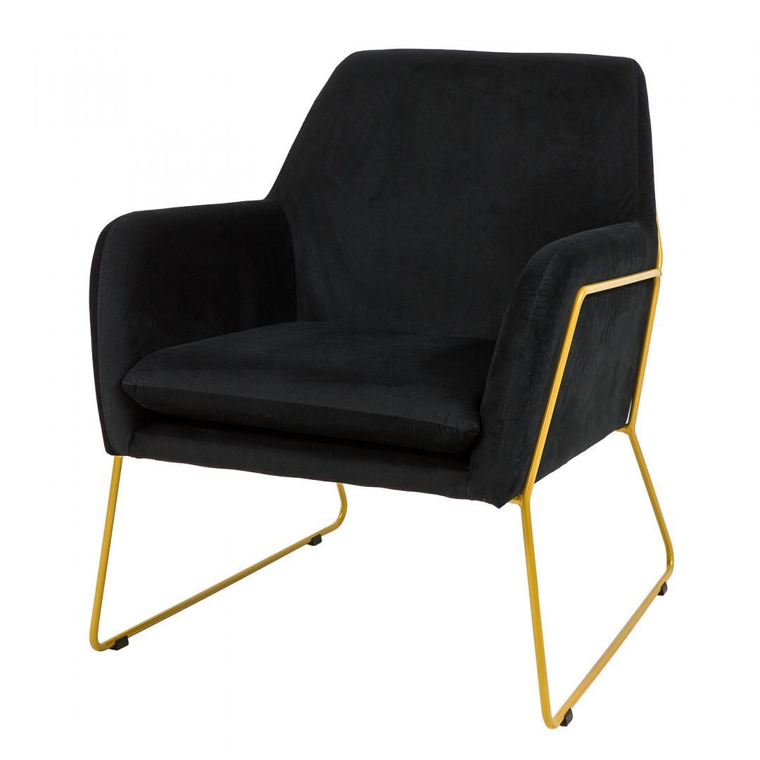 czarny tapicerowany fotel ze złotymi nogami