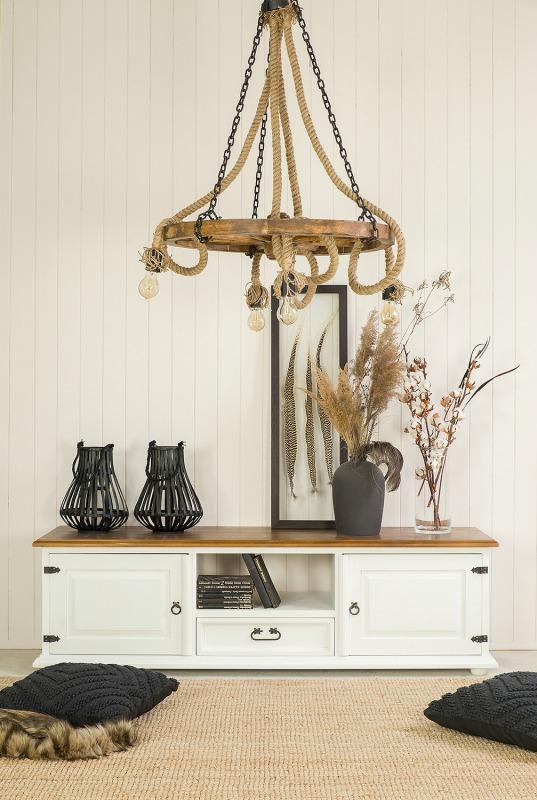 Rustykalna lampa sznurowa Koło