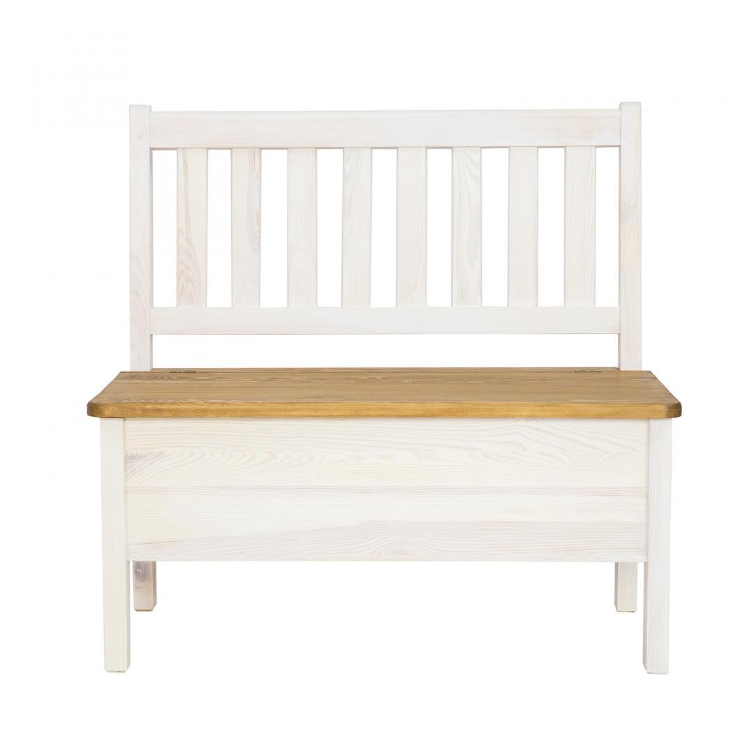 drewniana ławka ze schowkiem