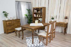 drewniane meble do jadalni strukturyzowane