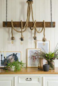 lampa sznurowa drewniana do salonu