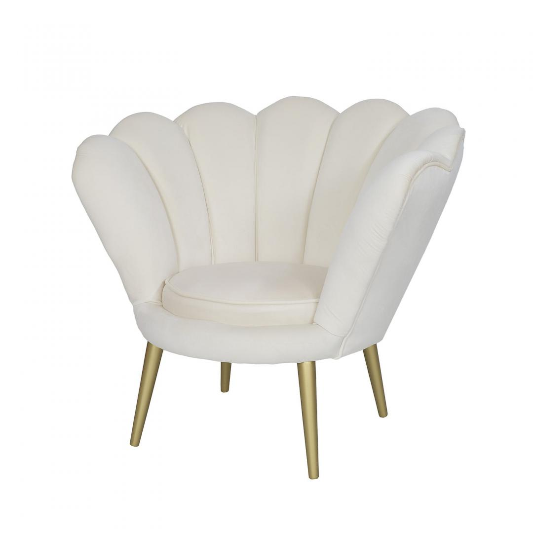 elegancki fotel kremowy w ksztalcie muszli
