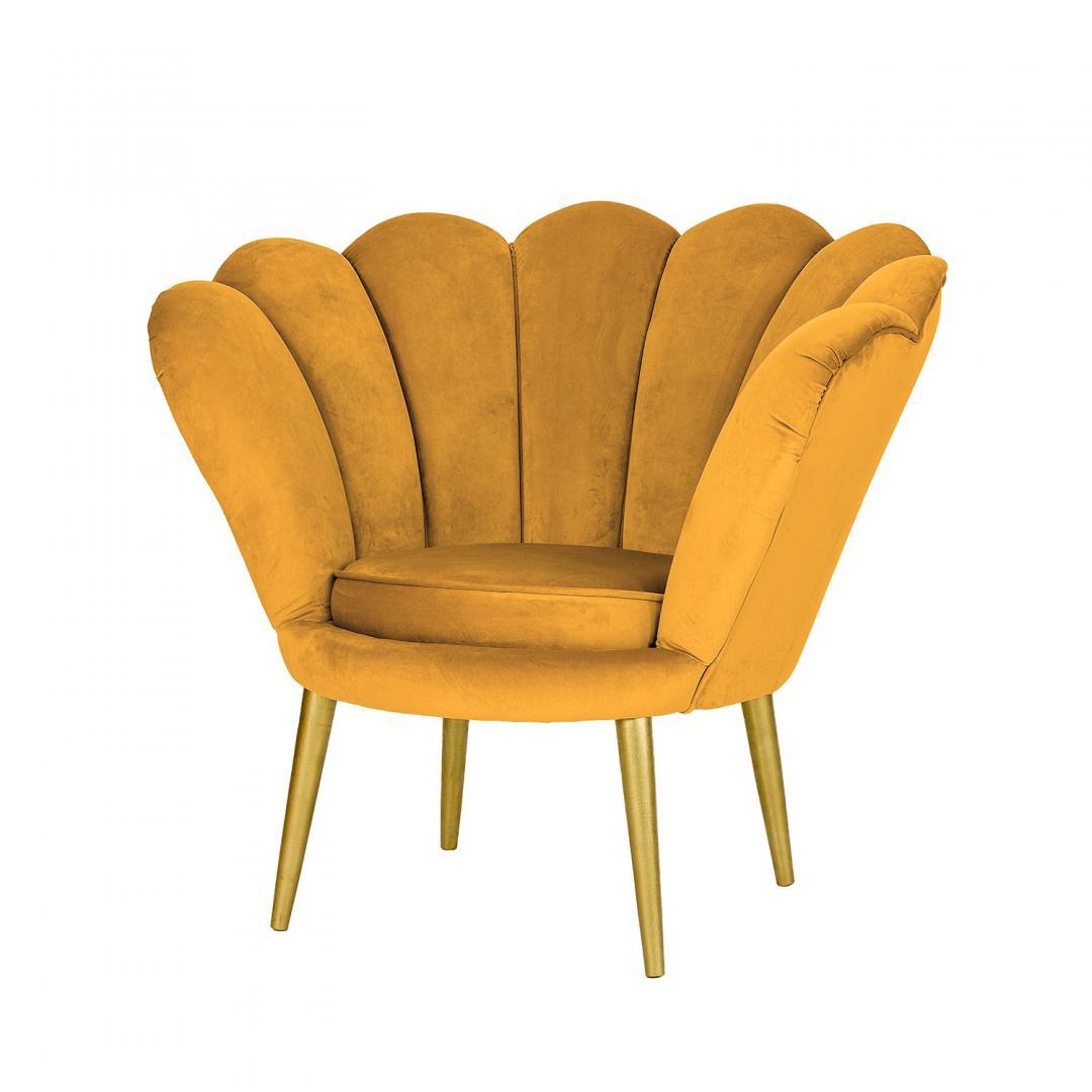 musztardowy fotel w ksztalcie muszli