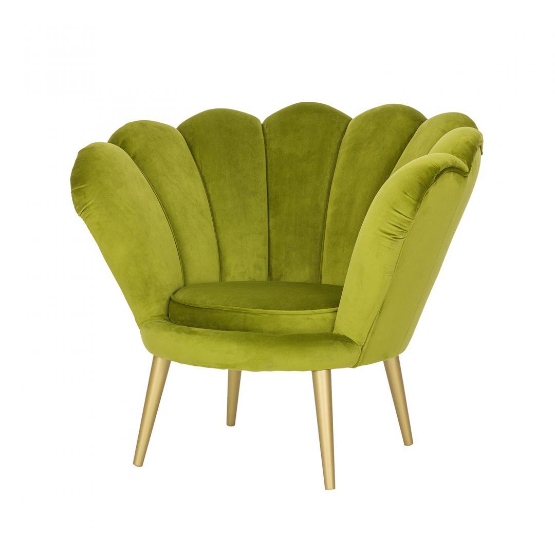 zielony fotel w tkaninie bluvel