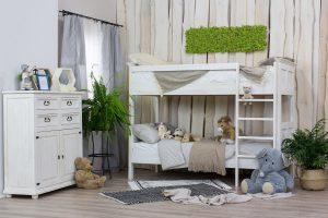 drewniane łóżko dziecięce piętrowe